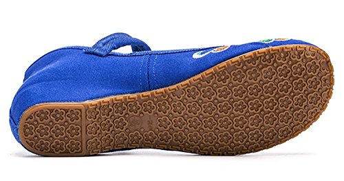 L-RUN Womens Embroidery Mary Jane Shoes Casual Ladies Old Peking Office Work Strap Flats Shoes Royal Blue wDvALm