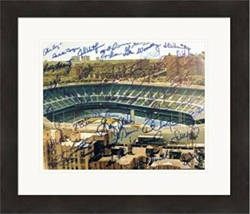 - New York Yankees Stadium autographed 11x14 photo by 25 legends Mel Allen, Don Larsen, Goose Gossage, Bucky Dent, Gene Woodling, Etc Matted & Framed