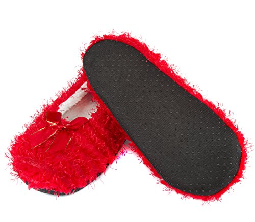 Leisureland Womens Fashion Cozy Slippers Solid Color Red j7Sh1