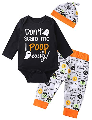 Baby Boys' Mama is My Boo Outfit Set Halloween Ghost Costume Romper (Orange, 12-18 Months)]()