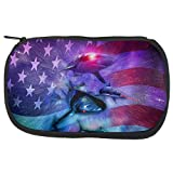 4th of July Patriotic American Galaxy Laser Sharks Travel Bag Multi Standard One Size