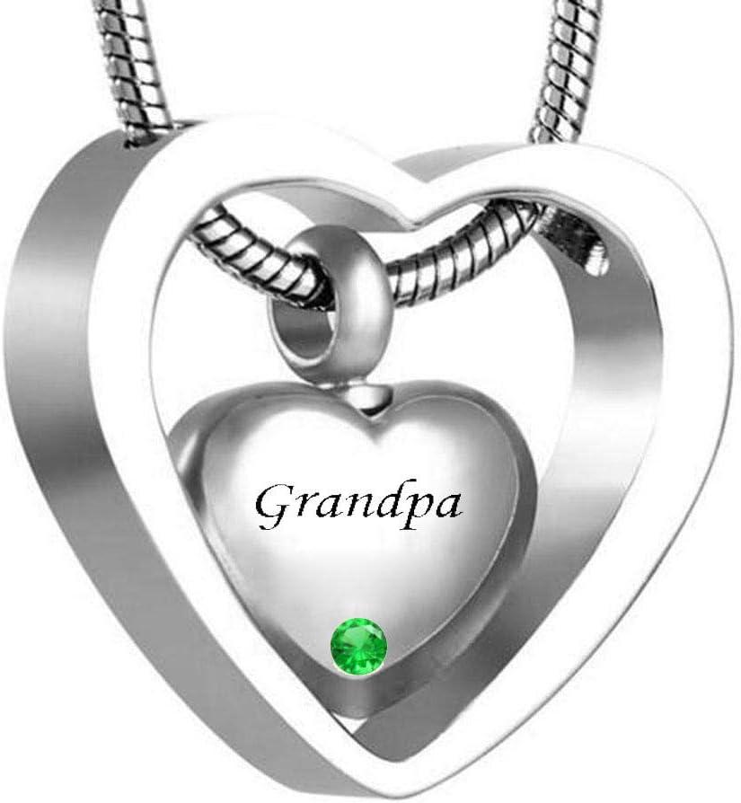 WgYoo Colgante De Cenizas Collar De Cremación Doble Corazón Piedra De Nacimiento Ur Collar Colgante Cenizas Souvenir Cremación Joyas-D