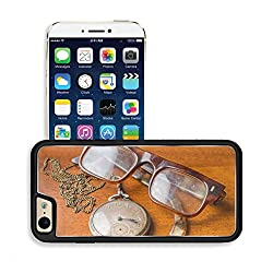 Luxlady Premium Apple iPhone 6 iPhone 6S Aluminium Snap Case Concept with old silver pocket watch with a chain and glasses on wooden table IMAGE 36488703 by Luxlady Customized Premium Deluxe generatio