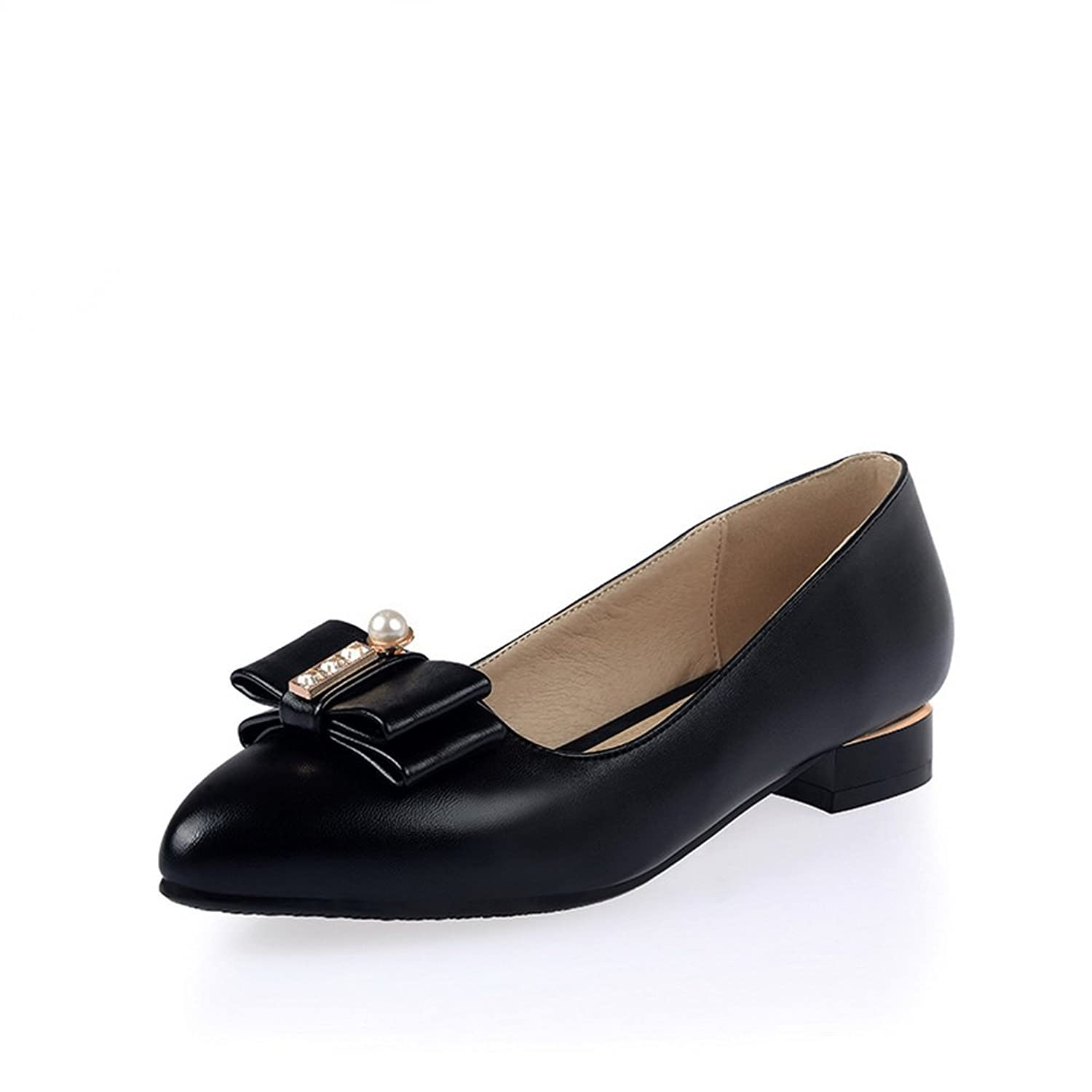 BalaMasa Ladies Low-Heels Round-Toe Pull-On Metal Bowknot Rubber Pumps-Shoes