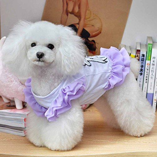 Binmer(TM)Dog Clothes Pet Dogs Nail bead Clothes Pet Dog Clothing Fly sleeve Chiffon Dog Skirt (Purple, S)