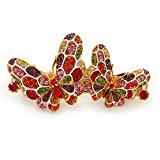 Multicoloured Austrian Crystal Butterfly Barrette Hair Clip Grip In Gold Plating - 60mm Across