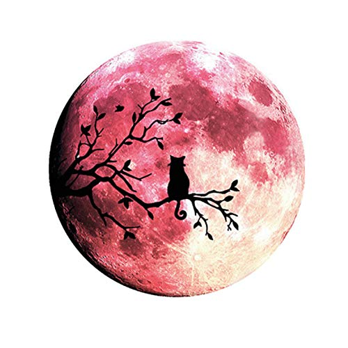 Quanhaigou Glow in The Dark Wall or Ceiling Moon Stickers - Luminous Decal Sticker for Simulated Planet Effect at Night - Red 3D Earth Black Tree Cat]()