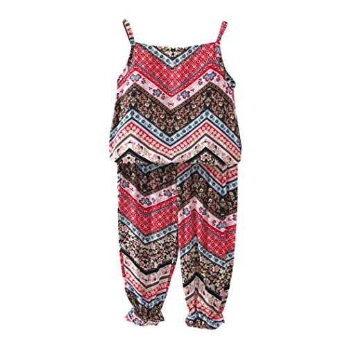 FEITONG Little Kid Girls' Clothes Set, Toddler Kids Baby Girls Summer T-Shirt Tops+ Pants Suit Outfits (Red, 4-5T) -