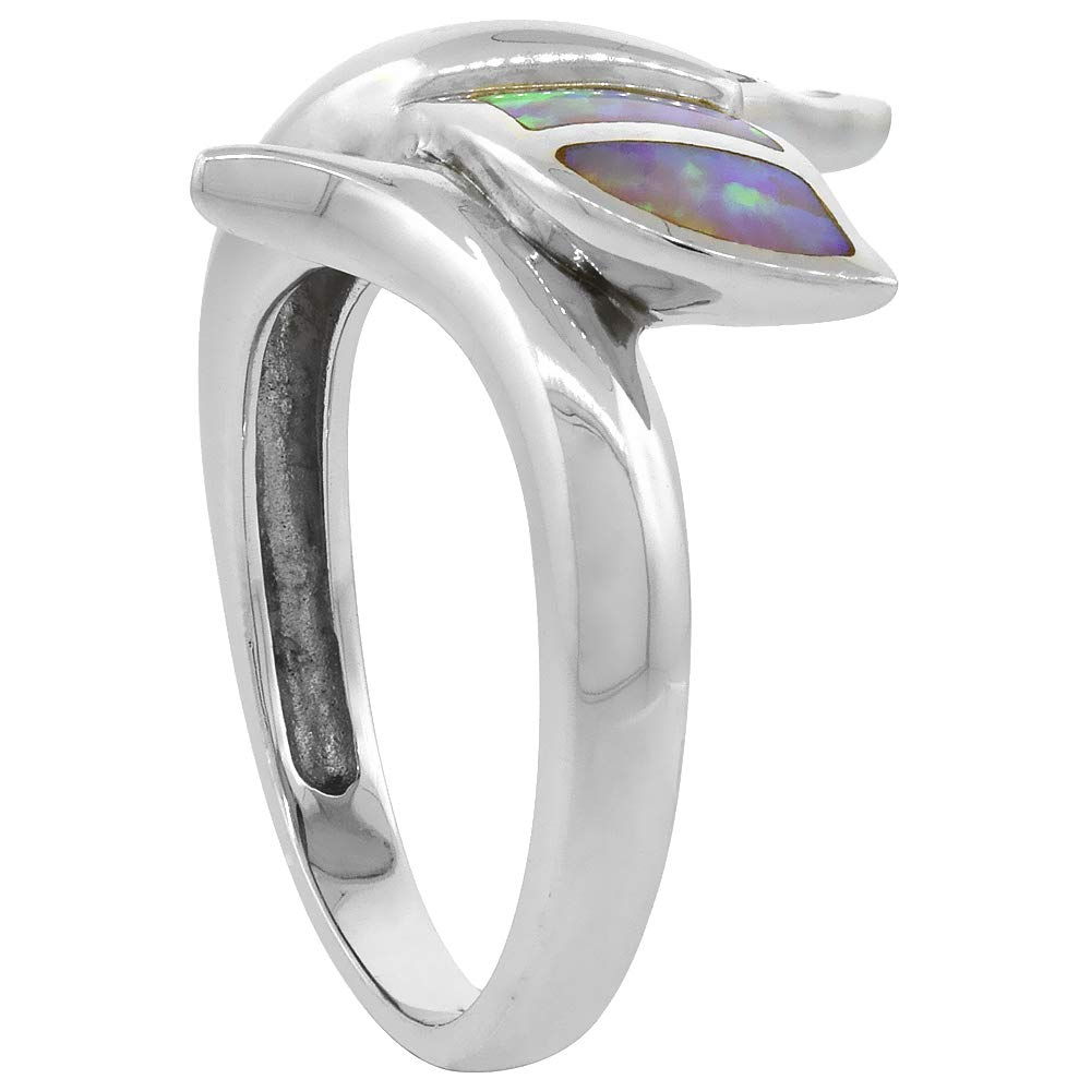 Sterling Silver Blue Synthetic Opal Whale Tail Ring for Women 3 4 inch