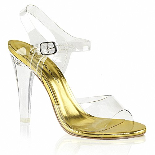 Fabulicious Duidelijk-408 Dames 4 1/2 Hak Enkelband Sandaal Clr Lucite-goud