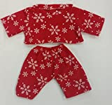 Stuffems Toy Shop Red Snowflake Pajamas Teddy Bear Clothes Outfit Fits Most 8'-10' Build-A-Bear, Vermont Teddy Bear, and Make Your Own
