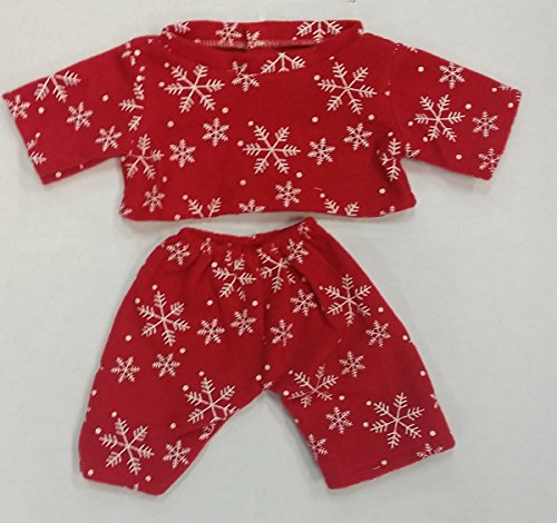 Stuffems Toy Shop Red Snowflake Pajamas Teddy Bear Clothes Outfit Fits Most 8