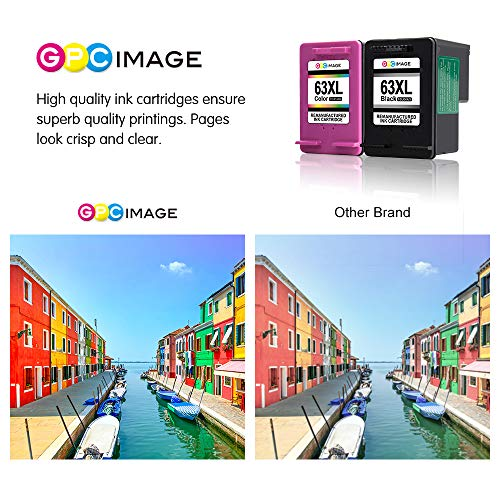 GPC Image Remanufactured Ink Cartridge Replacement for HP 63XL 63 XL High Yield fit for HP Envy 4520 4516 Officejet 4650 3830 3833 4655 DeskJet 1112 2130 3634 3630 2132 Printer (1 Black 1 Tri-Color) by GPC Image (Image #5)