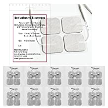 Premium TENS/EMS Reusable Self Stick Gel Carbon Electrodes. 10 Packs of 4 electrode pads, total of 40, 2 inches X 2 inches.