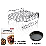 Hiware Air fryer Rack - Fits all 3.7QT – 5.8QT - Multi-purpose Double Layer Rack with Skewers Compatible with Phillips, Gowise etc - Bonus Free Pizza Pan + Recipe Book