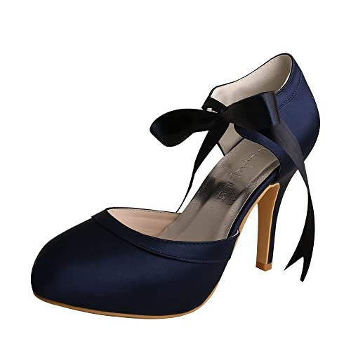 Wedopus MW705 Women Mary Jane Stiletto Heels Prom Ribbon Tie Navy Prom  Party Shoes for Special 3744f185f5ff
