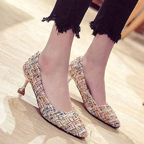Orangeskycn Women Single Shoes Sandals Fashion Summer Retro Casual Color Woven High Heel Roman Working Shoes White by Orangeskycn Women Sandals (Image #5)