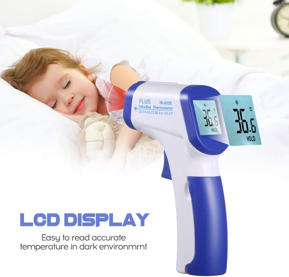 VISLONE Ear Forehead Thermometer Mini Digital Infrared Baby Temperature Gauge Instrument for Kids Children and Adults