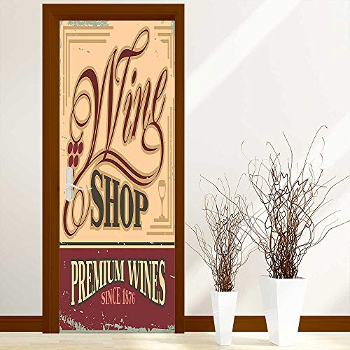 Stylish Waterproof Door Stickers Vintage Rusty Metal Pop Art Style Sign for Wine Shop Past Time Adds for Living Room Decorations W23 x H70 inch