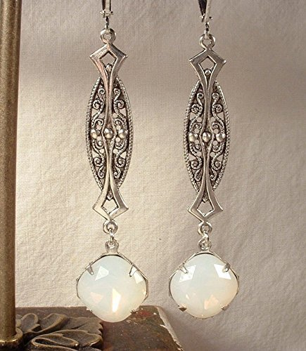 Glass OPAL Antiqued Silver Art Nouveau / Deco Rhinestone Dangle Pierced Earrings, Long White Pinfire Simulated Opal Bridal Statement Drop Earrings