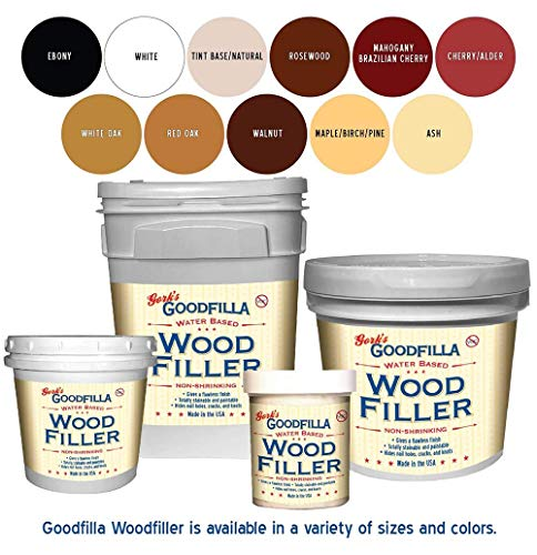 Water-Based Wood & Grain Filler - White Oak - 1 Quart by Goodfilla | Replace Every Filler & Putty | Repairs, Finishes & Patches | Paintable, Stainable, Sandable & Quick Drying
