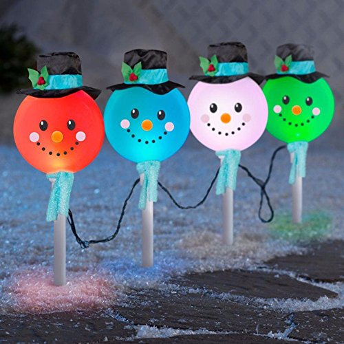Synchro Lights 4-Pieces Holiday Christmas Decor Color-Changing Snowman Path Lights]()