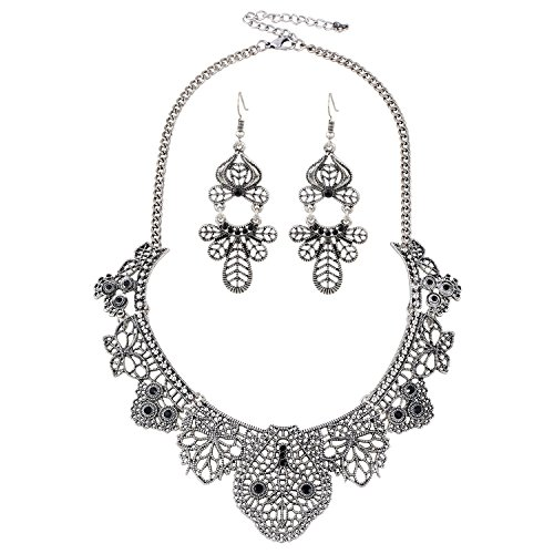 Lobster Costume Pattern (D EXCEED Jewelry Womens Vintage Lace Pattern Statement Necklace and Earrings Set (Anti-Silver))