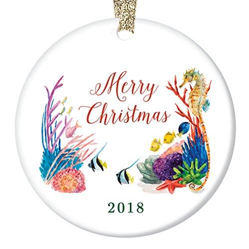 Under the Sea 2018 Ornament Cute Merry Christmas A Tropical Ocean of Season's Greetings Porcelain 3