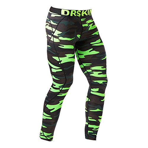 DRSKIN Compression Sports Tights Pants Baselayer Running Leggings Rashguard Men (DMGE06, XL)