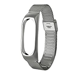 DEESEE(TM)Fashion Lightweight Stainless Steel Smart Wrist Watch Strap For Xiaomi Miband 2 (Silver)
