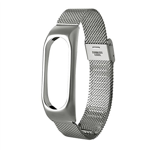 Fine Compatible for Xiaomi Mi Band 2 Watch Lightweight Stainless Steel Metal Chain Style Bracelet Smart Watch Band (Sliver)