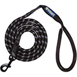 Phydeaux's Mountain Climbing Rope Dog Leash - 6 ft Long - Premium Quality - Perfect for Medium and Large Dogs (Black)