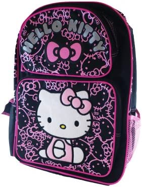 696ab42448 Amazon.com  Sanrio Hello Kitty Large Backpack - Black with Pink Glitter   Toys   Games