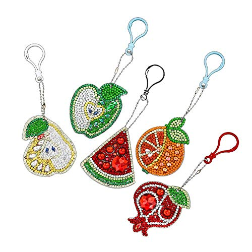Macddy Fruit DIY Key Chain Keyring Pendant Full Drill Diamond Painting Fruit Keychain Rhinestone Crystal Jewelry Charm Gift 5 PCS