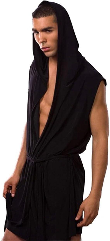 Men Summer Bathrobe Silky Hooded Sleeveless Bathrobe Sleepwear Pajamas