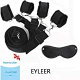 Bed Restraints Kit System,EYLEER Premium Medical Grade Straps with Soft Furry Wrist and Ankle Cuffs,with Eyemask