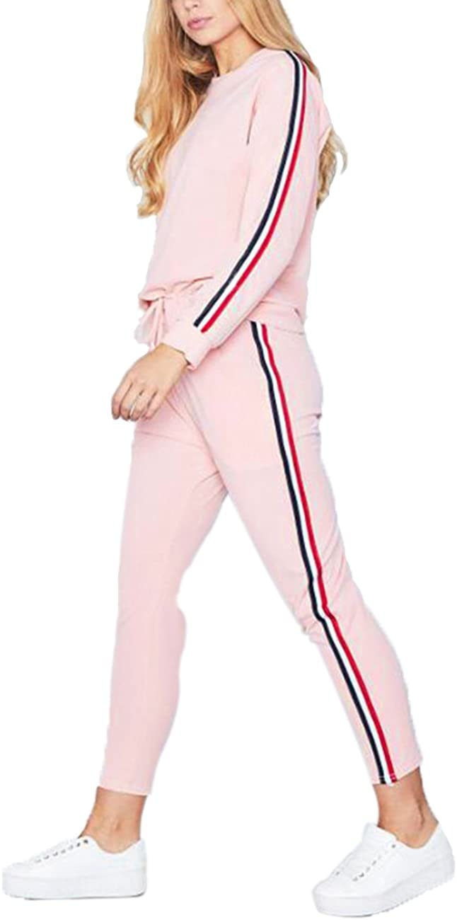 Pantaloni Sportivi Casuali Palestra Everyday Life SOMTHRON Donna Tuta da Donna Autunno Inverno Fashion Set con 2 Righe Maniche Lunghe