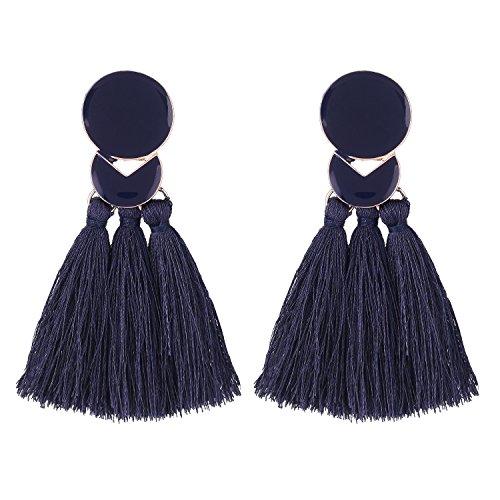 - D EXCEED Fashion Statement Thread Tassel Earrings Bohemian Chandelier Tassel Earrings Enamel Stud Earrings for Women Navy Blue