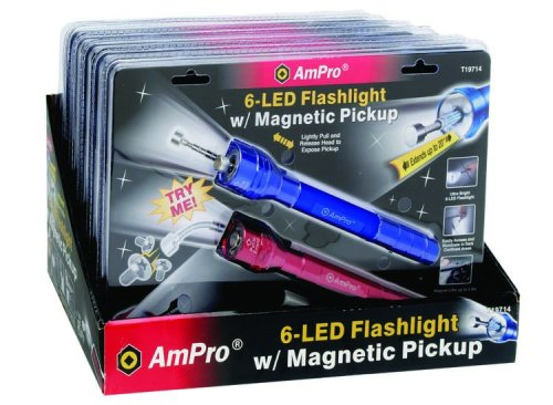 Ampro T19714 6-LED Flashlight with Magnetic Pickup, Blue/Red, Two-Pack (6 Flashlight Led Ampro)