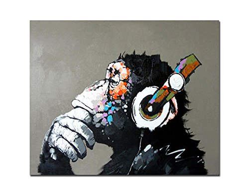 Fokenzary Hand Painted Oil Painting on Canvas Pop Art Cool Ape Listening Music with Headphone Framed Ready to Hang ()