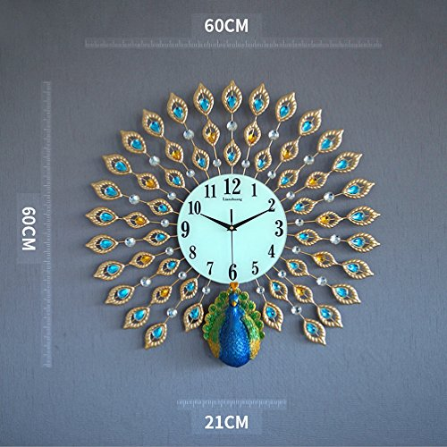 Wall Clock Quartz Mute (Clocks Creative Peacock Wall clock Metal Design Wall Art Quartz Clock Living Room Bedroom Restaurant Mute Electronic Clocks(60cm60cm) ( Color : C ))