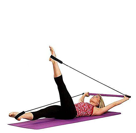 9fd5325e4 CHYIR Portable Pilates Bar Gym Stick Yoga Exercise Bar Pilates Trainer  Fitness Rod with Foot Loop  Amazon.co.uk  Sports   Outdoors