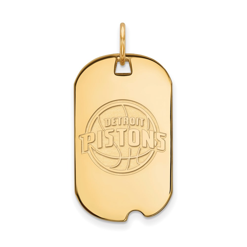 NBA Detroit Pistons Small Dog Tag Pendant in 14K Yellow Gold