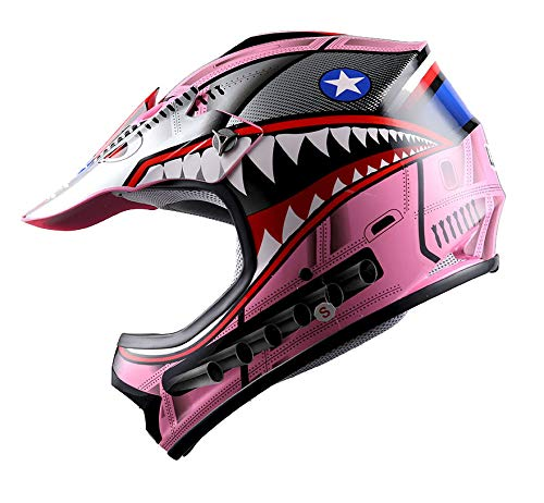 WOW Youth Kids Motocross BMX MX ATV Dirt Bike Helmet Shark Pink