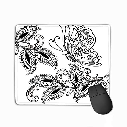 Mouse Pad Hand Drawn Butterfly Decorative Leaves Adult Anti Stress Coloring Pages Print Boho Henna Design Rectangle Rubber Mousepad 11.81 X 9.84 Inch ()