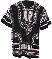 Black Traditional African Print Unisex Dashiki Shirt Small to 7XL Plus Size