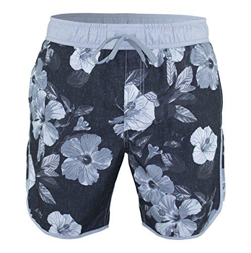 Matereek Men's Softly Distressed Floral Hibiscus Swim Trunks Black - Hibiscus Trunk