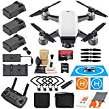 DJI Spark Drone Quadcopter Fly More Combo (Alpine White) with 3 Batteries, Remote Controller, Charger, Charging Hub, Shoulder Bag, Camera Gimbal Bundle Kit with Must Have Accessories