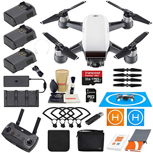 (DJI Spark Drone Quadcopter Fly More Combo (Alpine White) with 3 Batteries, Remote Controller, Charger, Charging Hub, Shoulder Bag, Camera Gimbal Bundle Kit with Must Have Accessories)