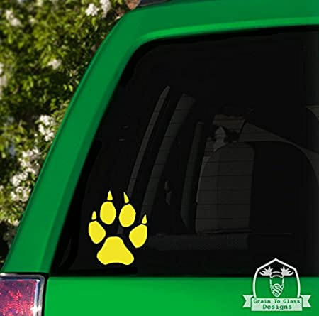 Wolf Paw Print Vinyl Car Decal 5 Black Grain To Glass Designs